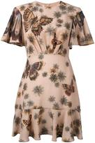Valentino butterfly and floral print dress - women - Silk/Spandex/Elastane - 38