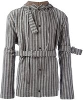 Craig Green striped belted hooded jacket