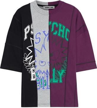 McQ Paneled Printed Stretch-cotton Jersey T-shirt
