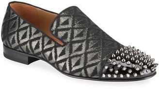 Christian Louboutin Men's Spooky Metallic Spike-Toe Loafers