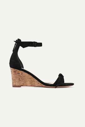 Alexandre Birman Clarita Bow-embellished Suede Wedge Sandals - Black