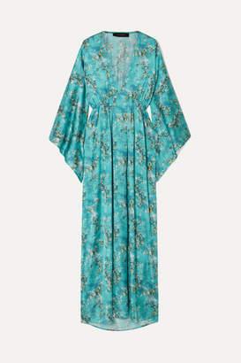Celia Dragouni - Floral-print Satin Maxi Dress - Turquoise