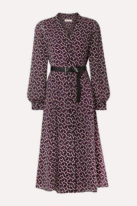MICHAEL Michael Kors Belted Printed Crepe Midi Dress - Black