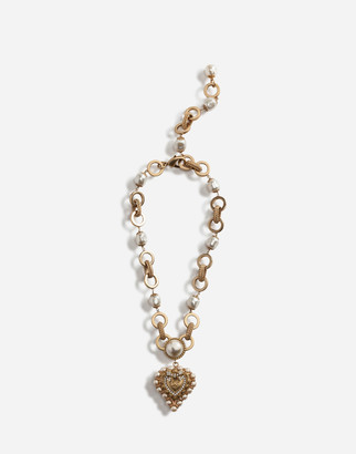 Dolce & Gabbana Short Necklace With Decorative Sacred Heart And Pearl Details