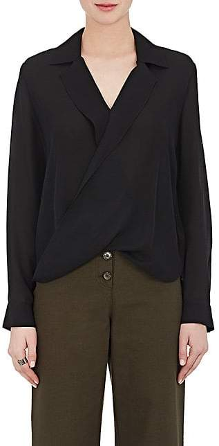 L'Agence Women's Rita Draped Silk Blouse - Black