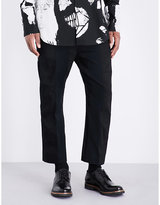 Ann Demeulemeester Woven-panels Cotton And Linen-blend Trousers