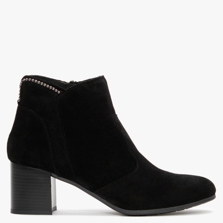 Daniel Lupos Black Suede Studded Ankle Boots
