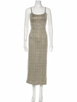 St. John Couture Printed Long Dress Gold