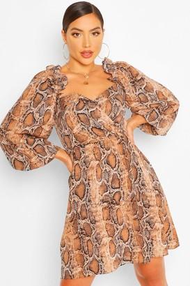 boohoo Snake Print Off The Shoulder Smock Dress
