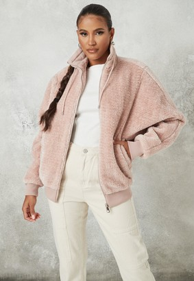 Missguided Pink Faux Fur Oversized Zip Through Jacket