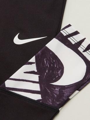 Nike Younger Girls Marker Graphic Dri-fit Leggings - Black