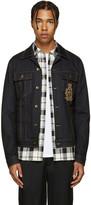 Dolce & Gabbana Blue Denim Beaded Crest Jacket