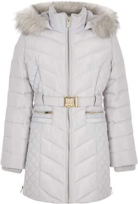 River Island Girls Grey padded belted longline coat