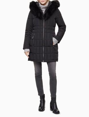 Calvin Klein Faux Fur Full Zip Hooded Puffer Jacket