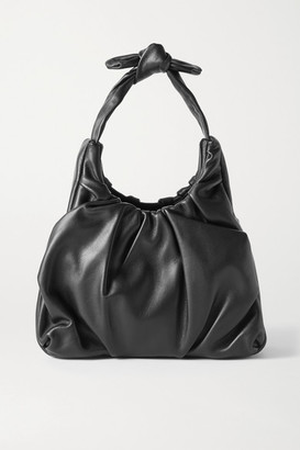 STAUD Island Ruched Leather Tote - Black