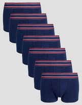 Asos Hipters In Navy With Stripe Waistband 7 Pack SAVE