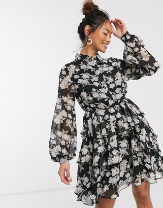 In The Style x Stephsa skater shirt dress in mono floral print