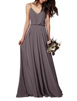 Gardenwed Simple Spaghetti Straps Flowy Long Bridesmaid Dress Formal Dress Dark Grey