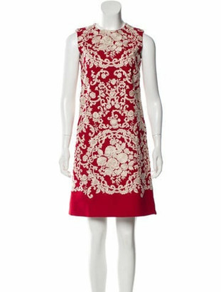 Dolce & Gabbana Embroidered Mini Dress Red