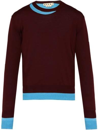 Marni Double Layered Cotton Blend Sweater - Mens - Burgundy