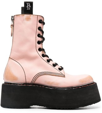 R 13 Double Stack lace-up leather boots
