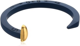 Giles & Brother Giles and Brother Navy Rubberized Original Railroad Spike Cuff with Gold Finished Nail Head Cuff Bracelet