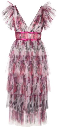 Marchesa frilled pleated dress
