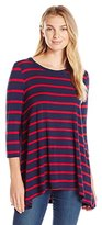 Sag Harbor Women's 3/4 Slv A-Line Stripe Tunic Tee