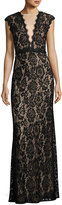 LM Collection Illusion-Neck Lace Sequined Gown, Black