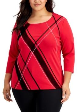 Karen Scott Plus Size Evening Decor Plaid-Front Top, Created for Macy's