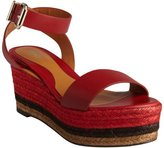 Fendi red leather and jute espadrille sandals