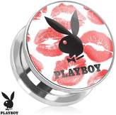 Playboy Bunny Logo on Kiss Mark Print Screw Fit Plug 316L Surgical Steel (Sold as a Pair)