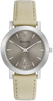 Bulova Women's Off-White Leather Strap Watch 32mm 96L233