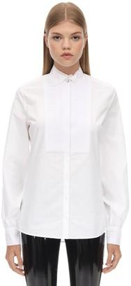 Karl Lagerfeld Paris Cotton Poplin Shirt W/ Pleated Plastron