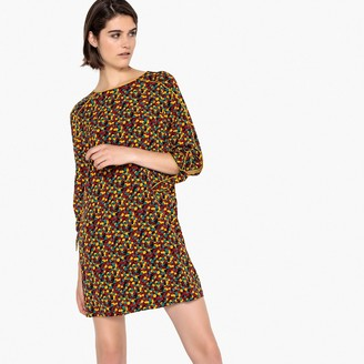 La Redoute Collections Floral Print Shift Dress with Tie Sleeves
