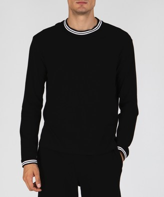 Atm Tipped Classic Jersey Long Sleeve Crew Neck Tee - Black Combo