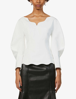Huishan Zhang Brielle scalloped-trim satin-twill top