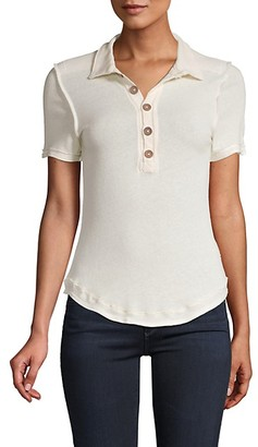 Free People Ruffle-Trimmed Cotton-Blend Polo