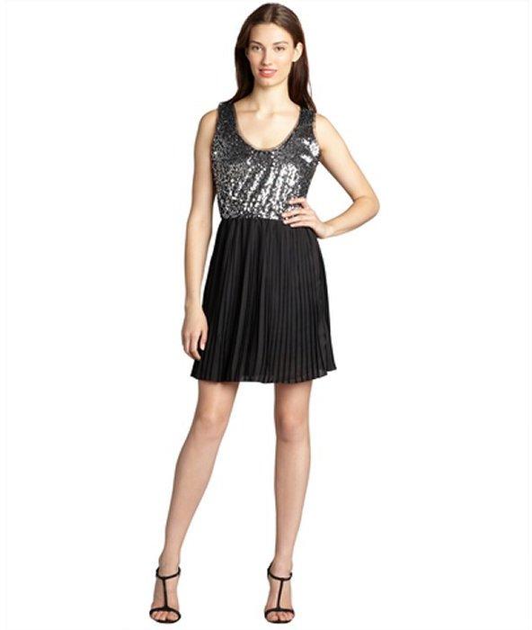 BB Dakota black crepe 'Olsen' sequined and pleated dress