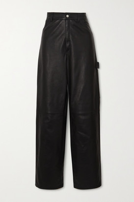 Unravel Project Leather Straight-leg Pants - Black