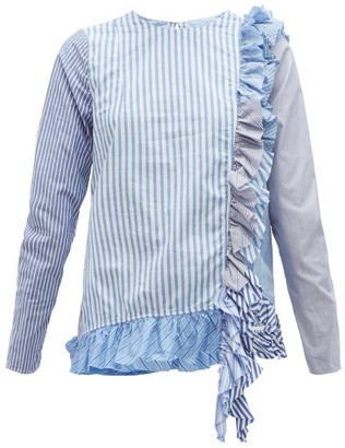 By Walid Nil Multi-stripe Cotton-poplin Shirt - Blue Multi
