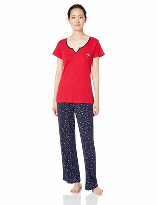 Tommy Hilfiger Women's Short Sleeve Top Shirt and Logo Pant Lounge Bottom Pj Set