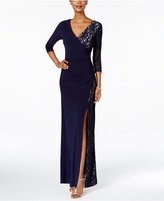 R & M Richards Petite Lace Faux-Wrap Gown