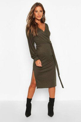 boohoo Petite Wrap Ribbed Midi Dress