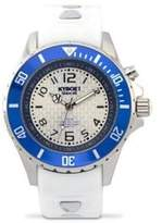 Marine White Silicone and Stainless Steel Strap Watch, 400315