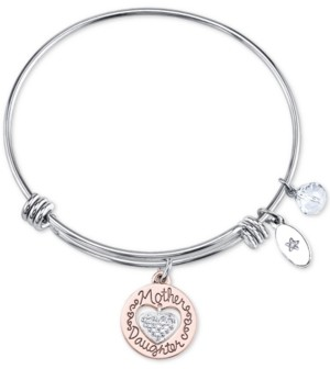 Unwritten Two-Tone Mother & Daughter Heart Charm Bangle Bracelet in Rose Gold-Tone & Stainless Steel with Silver Plated Charms