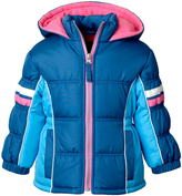 Pink Platinum Teal Color Block Hooded Puffer Coat - Infant, Toddler & Girls