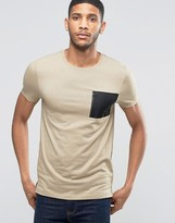 Asos Muscle T-shirt With Military Pocket In Beige