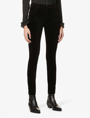 J Brand Maria skinny high-rise stretch-velvet jeans
