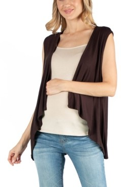 24seven Comfort Apparel Sleeveless Open Front Maternity Cardigan Vest